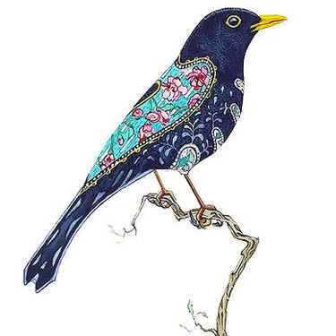 Blackbird on Branch Tattoo