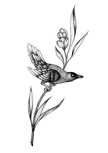 Blackbird on Flower Tattoo Design