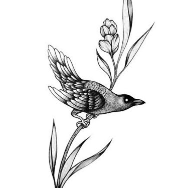 Blackbird on Flower Tattoo