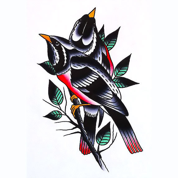 Blackbirds on Branch Tattoo Design