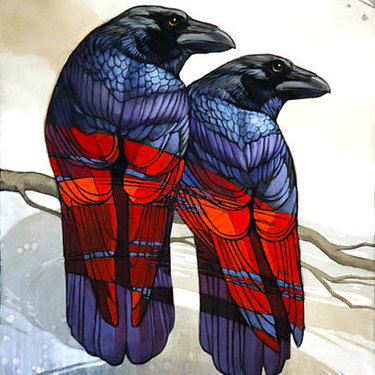 Ravens With Red Wings Tattoo