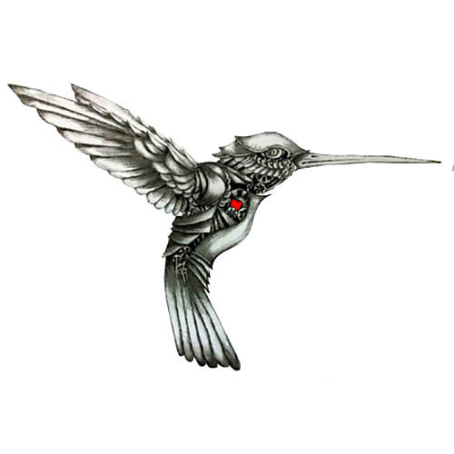 Black Hummingbird With Red Heart Tattoo Design