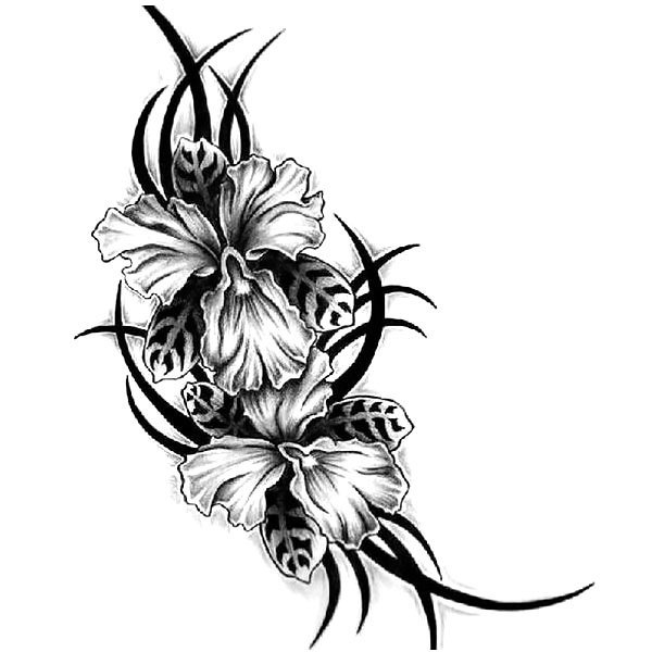 Black Orchid Tattoo Design