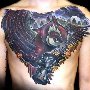 Best New School Owl With Hourglass Tattoo