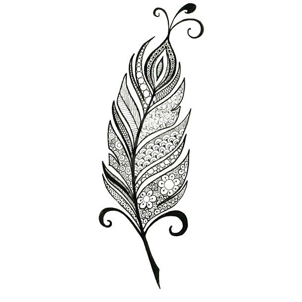 Black Peacock Feather Tattoo Design