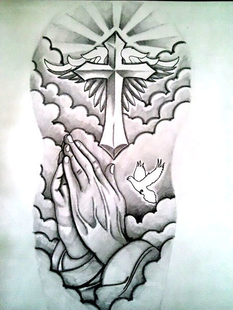 Black Praying Hands Tattoo Design
