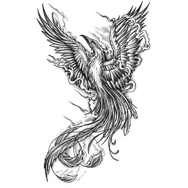 Black Rising Phoenix Tattoo Design