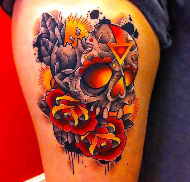 Best New School Skull Tattoo Idea
