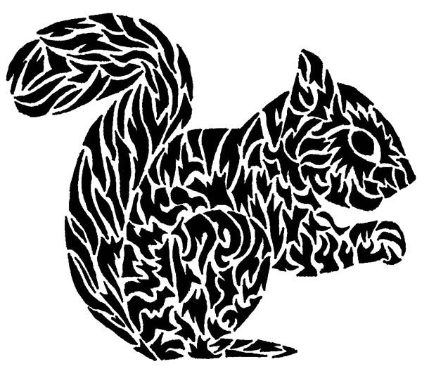 Black Squirrel Tattoo Design