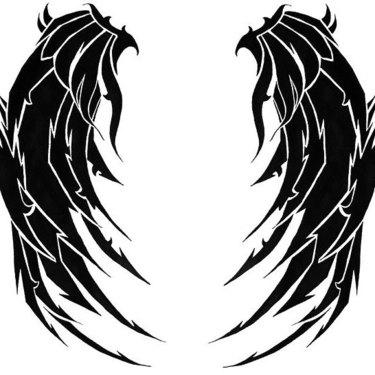 Blackwork Wings Tattoo