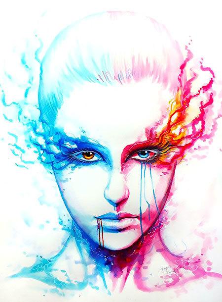 Blue and Pink Portrait Tattoo Design
