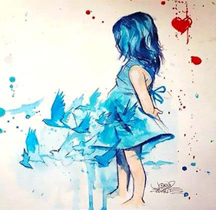 Bluebird Girl Tattoo Design