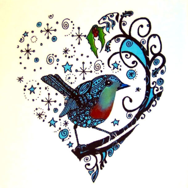 Bluebird Heart Tattoo Design