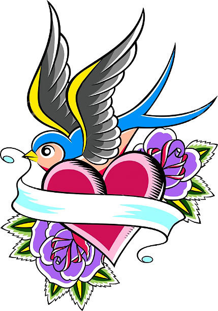 Swallow Heart and Roses Tattoo Design