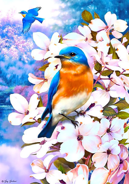 Bluebird In Flowers Tattoo Design