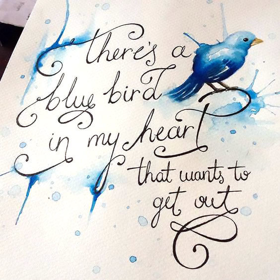 Blue Bird In My Heart Tattoo Design