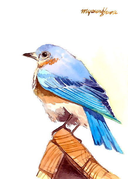 Bluebird on Roof Tattoo Design