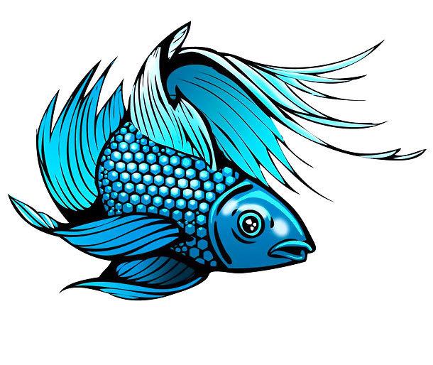 Blue Fish Tattoo Design