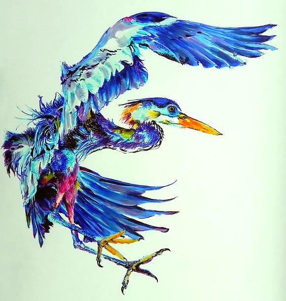 Blue Heron Tattoo Design
