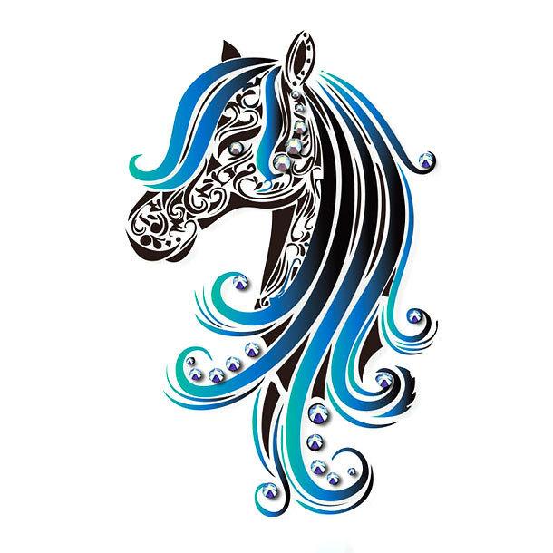 Blue Horse Tattoo Design