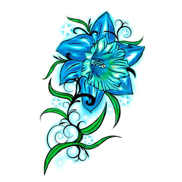 Blue Flower Tattoo Design