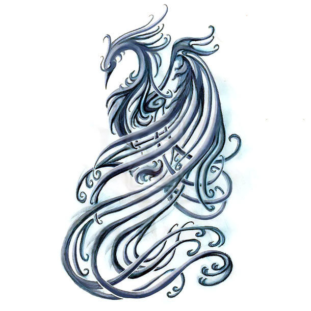 Blue Phoenix Tattoo Design