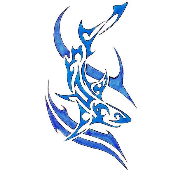 Blue Shark Tattoo Design