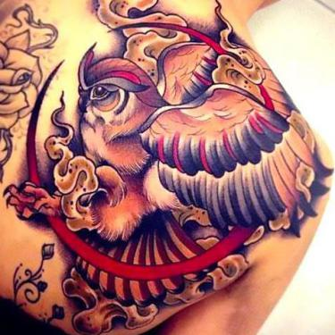 Best Owl on Shoulder Blade Tattoo