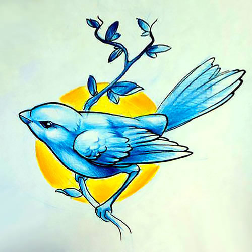 Blue Sparrow Tattoo Design