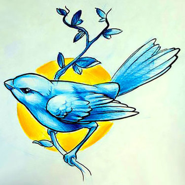 Blue Sparrow Tattoo