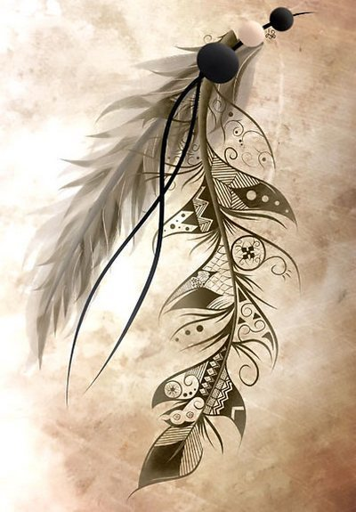 Bohemian Feather Tattoo Design