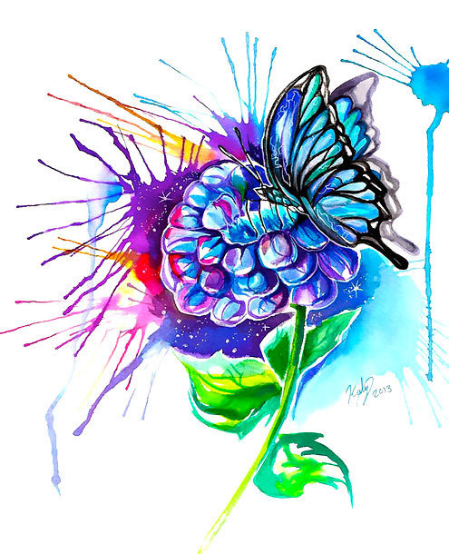 Butterfly on Flower In Watercolor Style Tattoo Design