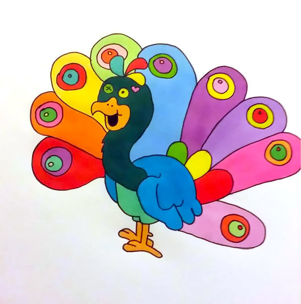 Cartoon Peacock Tattoo Design