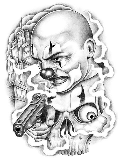 Chicano Clown Tattoo Design
