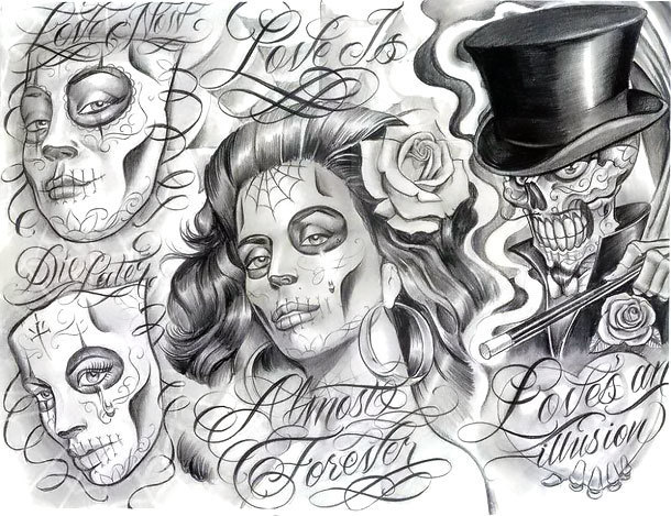 Chicano Dead Tattoo Design