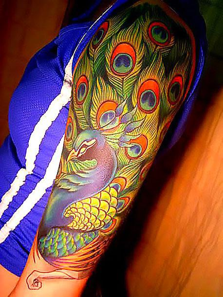 Best Peacock on Shoulder Tattoo Idea