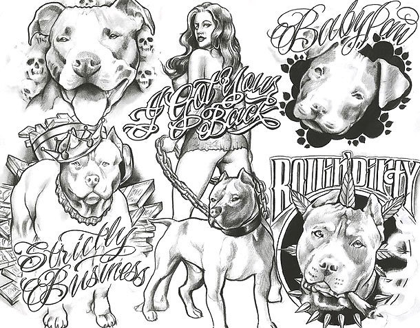 Chicano Dogs Tattoo Design