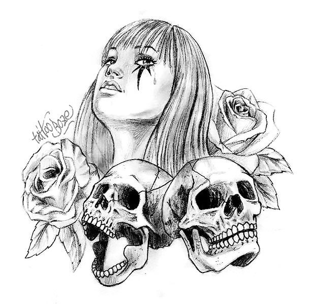 Chicano Lady With Skulls Tattoo Design