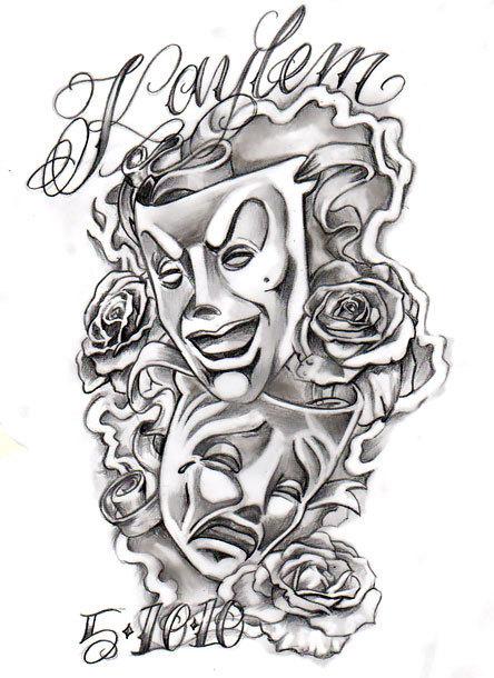 Chicano Masks Tattoo Design