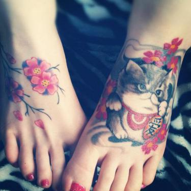 Cute Chinese Kitty Tattoo