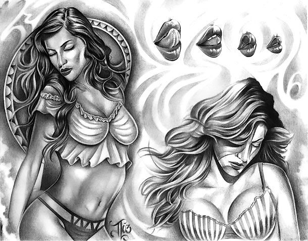 Chicano Women Tattoo Design