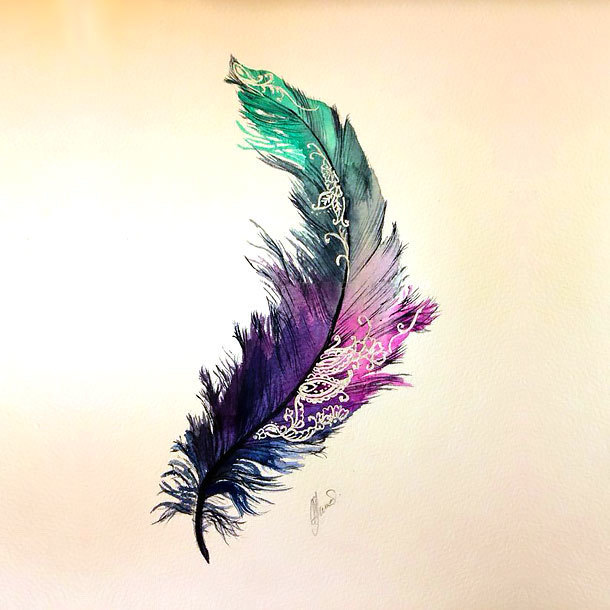 Colorful Feather Tattoo Design
