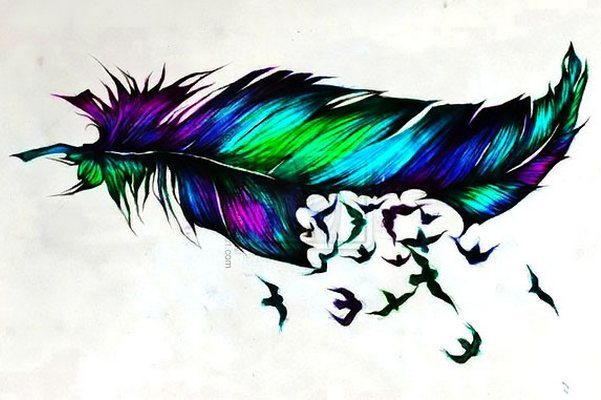 Colorful Feather Turning Into Birds Tattoo Design