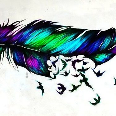 Colorful Feather Turning Into Birds Tattoo