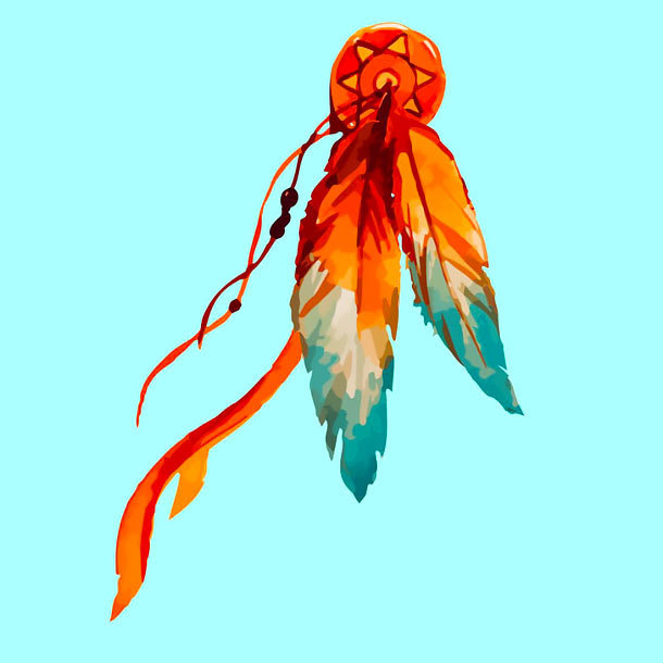 Colorful Indian Feather Tattoo Design