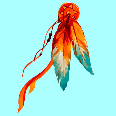 Colorful Indian Feather Tattoo