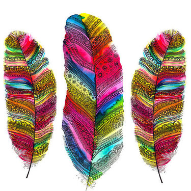 Colorful Ornament Feathers Tattoo