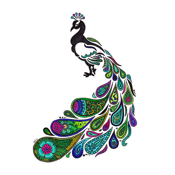 Colorful Ornate Peacock Tattoo Design