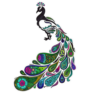 Colorful Ornate Peacock Tattoo