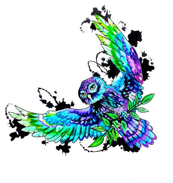 Colorful Owl Tattoo Design